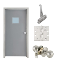 "Commercial Steel Door and Frame, 3'-0"" x 6'-8"", Left Hand, Gray 18 Gauge Hollow Metal Door with 12"" x 12"" Lite Kit, 6-1/4"" Jamb Depth 16 Gauge Masonry Knock Down Frame, Knob and Hardware Included"