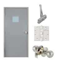 "Commercial Steel Door and Frame, 3'-0"" x 6'-8"", Left Hand Reverse, Gray 18 Gauge Hollow Metal Door with 12"" x 12"" Lite Kit, 6-3/4"" Jamb Depth 16 Gauge Masonry Knock Down Frame, Knob and Hardware Included"