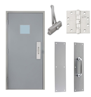 "Commercial Steel Door and Frame, 3'-0"" x 6'-8"", Left Hand Reverse, Gray 18 Gauge Hollow Metal Door with 12"" x 12"" Lite Kit, 5-3/4"" Jamb Depth 16 Gauge Masonry Knock Down Frame, Door Closer, Push / Pull Plate and Hardware Included"