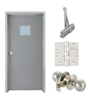 "Commercial Steel Door and Frame, 3'-0"" x 6'-8"", Right Hand, Gray 18 Gauge Hollow Metal Door with 12"" x 12"" Lite Kit, 6-3/4"" Jamb Depth 16 Gauge Masonry Knock Down Frame, Knob and Hardware Included"