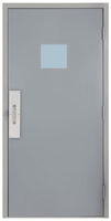 "Commercial Steel Door and Frame, 3'-4"" x 6'-8"", Gray 18 Gauge Hollow Metal Door with 12"" x 12"" Lite Kit, 5-3/4"" Jamb Depth 16 Gauge Masonry Knock Down Frame with Push and Pull Trim"