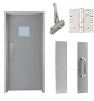 "Commercial Steel Door and Frame, 3'-0"" x 6'-8"", Right Hand, Gray 18 Gauge Hollow Metal Door with 12"" x 12"" Lite Kit, 4-3/4"" Jamb Depth 16 Gauge Masonry Knock Down Frame, Door Closer, Push / Pull Plate and Hardware Included"