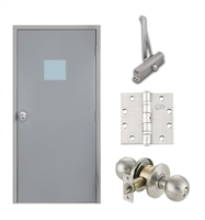 "Commercial Steel Door and Frame, 3'-0"" x 6'-8"", Right Hand Reverse, Gray 18 Gauge Hollow Metal Door with 12"" x 12"" Lite Kit, 6-1/4"" Jamb Depth 16 Gauge Masonry Knock Down Frame, Knob and Hardware Included"