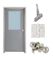 "Commercial Steel Door and Frame, 3'-0"" x 6'-8"", Left Hand, Gray 18 Gauge Hollow Metal Door with 24"" x 36"" Lite Kit, 4-3/4"" Jamb Depth 16 Gauge Masonry Knock Down Frame, Knob and Hardware Included"