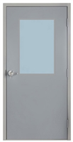 "Commercial Steel Door and Frame, 3'-0"" x 6'-8"", Gray 18 Gauge Hollow Metal Door with 24"" x 36"" Lite Kit, 4-3/4"" Jamb Depth 16 Gauge Masonry Knock Down Frame with Lock Package"