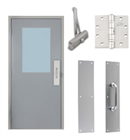 "Commercial Steel Door and Frame, 3'-0"" x 6'-8"", Left Hand Reverse, Gray 18 Gauge Hollow Metal Door with 24"" x 36"" Lite Kit, 4-3/4"" Jamb Depth 16 Gauge Masonry Knock Down Frame, Door Closer, Push / Pull Plate and Hardware Included"