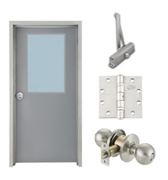 "Commercial Steel Door and Frame, 3'-0"" x 6'-8"", Right Hand, Gray 18 Gauge Hollow Metal Door with 24"" x 36"" Lite Kit, 4-3/4"" Jamb Depth 16 Gauge Masonry Knock Down Frame, Knob and Hardware Included"