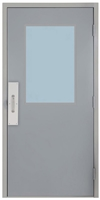 "Commercial Steel Door and Frame, 3'-0"" x 6'-8"", Gray 18 Gauge Hollow Metal Door with 24"" x 36"" Lite Kit, 4-3/4"" Jamb Depth 16 Gauge Masonry Knock Down Frame with Push and Pull Trim"
