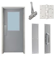 "Commercial Steel Door and Frame, 3'-0"" x 6'-8"", Right Hand, Gray 18 Gauge Hollow Metal Door with 24"" x 36"" Lite Kit, 4-3/4"" Jamb Depth 16 Gauge Masonry Knock Down Frame, Door Closer, Push / Pull Plate and Hardware Included"