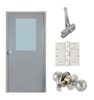 "Commercial Steel Door and Frame, 3'-0"" x 6'-8"", Right Hand Reverse, Gray 18 Gauge Hollow Metal Door with 24"" x 36"" Lite Kit, 4-3/4"" Jamb Depth 16 Gauge Masonry Knock Down Frame, Knob and Hardware Included"