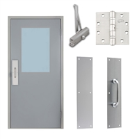 "Commercial Steel Door and Frame, 3'-0"" x 6'-8"", Right Hand Reverse, Gray 18 Gauge Hollow Metal Door with 24"" x 36"" Lite Kit, 4-3/4"" Jamb Depth 16 Gauge Masonry Knock Down Frame, Door Closer, Push / Pull Plate and Hardware Included"