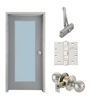 "Commercial Steel Door and Frame, 3'-0"" x 6'-8"", Left Hand, Gray 18 Gauge Hollow Metal Door with 24"" x 64"" Lite Kit, 4-3/4"" Jamb Depth 16 Gauge Masonry Knock Down Frame, Knob and Hardware Included"