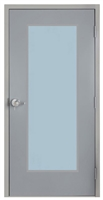 "Commercial Steel Door and Frame, 3'-0"" x 6'-8"", Gray 18 Gauge Hollow Metal Door with 24"" x 64"" Lite Kit, 7-1/8"" Jamb Depth 16 Gauge Masonry Knock Down Frame with Lock Package"