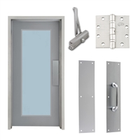 "Commercial Steel Door and Frame, 3'-0"" x 6'-8"", Left Hand, Gray 18 Gauge Hollow Metal Door with 24"" x 64"" Lite Kit, 4-3/4"" Jamb Depth 16 Gauge Masonry Knock Down Frame, Door Closer, Push / Pull Plate and Hardware Included"