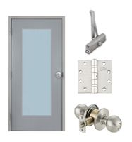 "Commercial Steel Door and Frame, 3'-0"" x 6'-8"", Left Hand Reverse, Gray 18 Gauge Hollow Metal Door with 24"" x 64"" Lite Kit, 4-3/4"" Jamb Depth 16 Gauge Masonry Knock Down Frame, Knob and Hardware Included"
