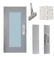 "Commercial Steel Door and Frame, 3'-0"" x 6'-8"", Left Hand Reverse, Gray 18 Gauge Hollow Metal Door with 24"" x 64"" Lite Kit, 4-3/4"" Jamb Depth 16 Gauge Masonry Knock Down Frame, Door Closer, Push / Pull Plate and Hardware Included"