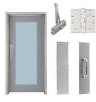 "Commercial Steel Door and Frame, 3'-0"" x 6'-8"", Right Hand, Gray 18 Gauge Hollow Metal Door with 24"" x 64"" Lite Kit, 4-3/4"" Jamb Depth 16 Gauge Masonry Knock Down Frame, Door Closer, Push / Pull Plate and Hardware Included"