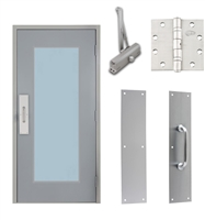 "Commercial Steel Door and Frame, 3'-0"" x 6'-8"", Right Hand Reverse, Gray 18 Gauge Hollow Metal Door with 24"" x 64"" Lite Kit, 4-3/4"" Jamb Depth 16 Gauge Masonry Knock Down Frame, Door Closer, Push / Pull Plate and Hardware Included"