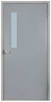 "Commercial Steel Door and Frame, 3'-0"" x 6'-8"", Gray 18 Gauge Hollow Metal Door with 5"" x 35"" Lite Kit, 4-3/4"" Jamb Depth 16 Gauge Masonry Knock Down Frame with Lock Package"