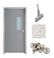 "Commercial Steel Door and Frame, 3'-0"" x 6'-8"", Left Hand, Gray 18 Gauge Hollow Metal Door with 7"" x 22"" Lite Kit, 4-3/4"" Jamb Depth 16 Gauge Masonry Knock Down Frame, Knob and Hardware Included"