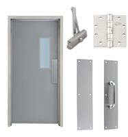 "Commercial Steel Door and Frame, 3'-0"" x 6'-8"", Left Hand, Gray 18 Gauge Hollow Metal Door with 7"" x 22"" Lite Kit, 4-3/4"" Jamb Depth 16 Gauge Masonry Knock Down Frame, Door Closer, Push / Pull Plate and Hardware Included"