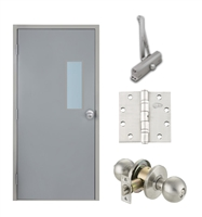 "Commercial Steel Door and Frame, 3'-0"" x 6'-8"", Left Hand Reverse, Gray 18 Gauge Hollow Metal Door with 7"" x 22"" Lite Kit, 4-3/4"" Jamb Depth 16 Gauge Masonry Knock Down Frame, Knob and Hardware Included"