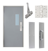"Commercial Steel Door and Frame, 3'-0"" x 6'-8"", Left Hand Reverse, Gray 18 Gauge Hollow Metal Door with 7"" x 22"" Lite Kit, 4-3/4"" Jamb Depth 16 Gauge Masonry Knock Down Frame, Door Closer, Push / Pull Plate and Hardware Included"