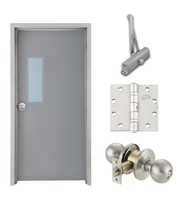 "Commercial Steel Door and Frame, 3'-0"" x 6'-8"", Right Hand, Gray 18 Gauge Hollow Metal Door with 7"" x 22"" Lite Kit, 4-3/4"" Jamb Depth 16 Gauge Masonry Knock Down Frame, Knob and Hardware Included"