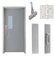 "Commercial Steel Door and Frame, 3'-0"" x 6'-8"", Right Hand, Gray 18 Gauge Hollow Metal Door with 7"" x 22"" Lite Kit, 4-3/4"" Jamb Depth 16 Gauge Masonry Knock Down Frame, Door Closer, Push / Pull Plate and Hardware Included"