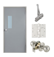 "Commercial Steel Door and Frame, 3'-0"" x 6'-8"", Right Hand Reverse, Gray 18 Gauge Hollow Metal Door with 7"" x 22"" Lite Kit, 4-3/4"" Jamb Depth 16 Gauge Masonry Knock Down Frame, Knob and Hardware Included"