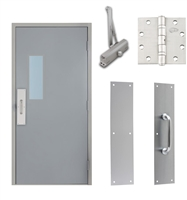 "Commercial Steel Door and Frame, 3'-0"" x 6'-8"", Right Hand Reverse, Gray 18 Gauge Hollow Metal Door with 7"" x 22"" Lite Kit, 4-3/4"" Jamb Depth 16 Gauge Masonry Knock Down Frame, Door Closer, Push / Pull Plate and Hardware Included"