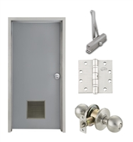 "Commercial Steel Door and Frame, 3'-0"" x 6'-8"", Left Hand, Gray 18 Gauge Hollow Metal Door with 12"" x 12"" Louver, 4-3/4"" Jamb Depth 16 Gauge Masonry Knock Down Frame, Knob and Hardware Included"