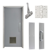 "Commercial Steel Door and Frame, 3'-0"" x 6'-8"", Left Hand, Gray 18 Gauge Hollow Metal Door with 12"" x 12"" Louver, 4-3/4"" Jamb Depth 16 Gauge Masonry Knock Down Frame, Door Closer, Push / Pull Plate and Hardware Included"