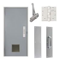 "Commercial Steel Door and Frame, 3'-0"" x 6'-8"", Left Hand Reverse, Gray 18 Gauge Hollow Metal Door with 12"" x 12"" Louver, 4-3/4"" Jamb Depth 16 Gauge Masonry Knock Down Frame, Door Closer, Push / Pull Plate and Hardware Included"