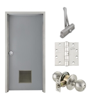 "Commercial Steel Door and Frame, 3'-0"" x 6'-8"", Right Hand, Gray 18 Gauge Hollow Metal Door with 12"" x 12"" Louver, 4-3/4"" Jamb Depth 16 Gauge Masonry Knock Down Frame, Knob and Hardware Included"