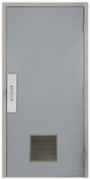 "Commercial Steel Door and Frame, 3'-0"" x 6'-8"", Right Hand, Gray 18 Gauge Hollow Metal Door with 12"" x 12"" Louver, 4-3/4"" Jamb Depth with Push and Pull Trim"