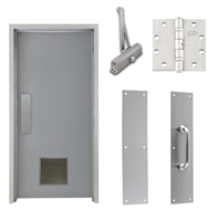 "Commercial Steel Door and Frame, 3'-0"" x 6'-8"", Right Hand, Gray 18 Gauge Hollow Metal Door with 12"" x 12"" Louver, 4-3/4"" Jamb Depth 16 Gauge Masonry Knock Down Frame, Door Closer, Push / Pull Plate and Hardware Included"