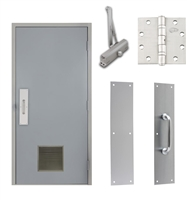 "Commercial Steel Door and Frame, 3'-0"" x 6'-8"", Right Hand Reverse, Gray 18 Gauge Hollow Metal Door with 12"" x 12"" Louver, 4-3/4"" Jamb Depth 16 Gauge Masonry Knock Down Frame, Door Closer, Push / Pull Plate and Hardware Included"
