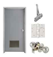 "Commercial Steel Door and Frame, 3'-0"" x 6'-8"", Left Hand, Gray 18 Gauge Hollow Metal Door with 18"" x 12"" Louver, 4-3/4"" Jamb Depth 16 Gauge Masonry Knock Down Frame, Knob and Hardware Included"