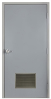 "Commercial Steel Door and Frame, 3'-0"" x 6'-8"", Left Hand, Gray 18 Gauge Hollow Metal Door with 18"" x 12"" Louver, 4-3/4"" Jamb Depth with Lock Package"