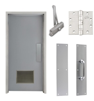 "Commercial Steel Door and Frame, 3'-0"" x 6'-8"", Left Hand, Gray 18 Gauge Hollow Metal Door with 18"" x 12"" Louver, 4-3/4"" Jamb Depth 16 Gauge Masonry Knock Down Frame, Door Closer, Push / Pull Plate and Hardware Included"