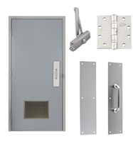 "Commercial Steel Door and Frame, 3'-0"" x 6'-8"", Left Hand Reverse, Gray 18 Gauge Hollow Metal Door with 18"" x 12"" Louver, 4-3/4"" Jamb Depth 16 Gauge Masonry Knock Down Frame, Door Closer, Push / Pull Plate and Hardware Included"