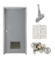 "Commercial Steel Door and Frame, 3'-0"" x 6'-8"", Right Hand, Gray 18 Gauge Hollow Metal Door with 18"" x 12"" Louver, 4-3/4"" Jamb Depth 16 Gauge Masonry Knock Down Frame, Knob and Hardware Included"