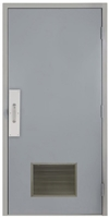 "Commercial Steel Door and Frame, 3'-0"" x 6'-8"", Right Hand, Gray 18 Gauge Hollow Metal Door with 18"" x 12"" Louver, 4-3/4"" Jamb Depth with Push and Pull Trim"