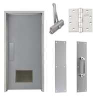 "Commercial Steel Door and Frame, 3'-0"" x 6'-8"", Right Hand, Gray 18 Gauge Hollow Metal Door with 18"" x 12"" Louver, 4-3/4"" Jamb Depth 16 Gauge Masonry Knock Down Frame, Door Closer, Push / Pull Plate and Hardware Included"