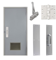 "Commercial Steel Door and Frame, 3'-0"" x 6'-8"", Right Hand Reverse, Gray 18 Gauge Hollow Metal Door with 18"" x 12"" Louver, 4-3/4"" Jamb Depth 16 Gauge Masonry Knock Down Frame, Door Closer, Push / Pull Plate and Hardware Included"