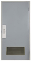 "Commercial Steel Door and Frame, 3'-0"" x 6'-8"", Right Hand, Gray 18 Gauge Hollow Metal Door with 20"" x 10"" Louver, 4-3/4"" Jamb Depth with Push and Pull Trim"