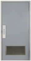 "Commercial Steel Door and Frame, 3'-0"" x 6'-8"", Right Hand, Gray 18 Gauge Hollow Metal Door with 24"" x 12"" Louver, 4-3/4"" Jamb Depth with Push and Pull Trim"