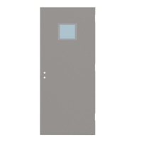 "1815-3068-SVL1212 - 3'-0"" x 6'-8"" Steelcraft / Amweld / DKS Hinge Commercial Hollow Metal Steel Door with 12"" x 12"" Low Profile Beveled Vision Lite Kit, 161 Cylindrical Lock and Deadbolt Prep 4"" CTC, 18 Gauge, Polystyrene Core"