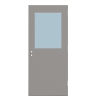 "1815-3068-SVL2436 - 3'-0"" x 6'-8"" Steelcraft / Amweld / DKS Hinge Commercial Hollow Metal Steel Door with 24"" x 36"" Low Profile Beveled Vision Lite Kit, 161 Cylindrical Lock and Deadbolt Prep 4"" CTC, 18 Gauge, Polystyrene Core"